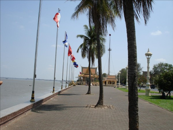 Riverfront 'Row of Flags' in Phnom Penh, Cambodia, photo by Stephen